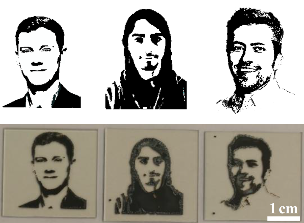 Figure: Demonstration of freedom of choice of printing patterns on millimeter scale by inkjet printing: Digital image files (a) of portraits of some of the researchers at Karlsruhe Institute of Technology (from left to right: Helge Eggers, Fabian Schack