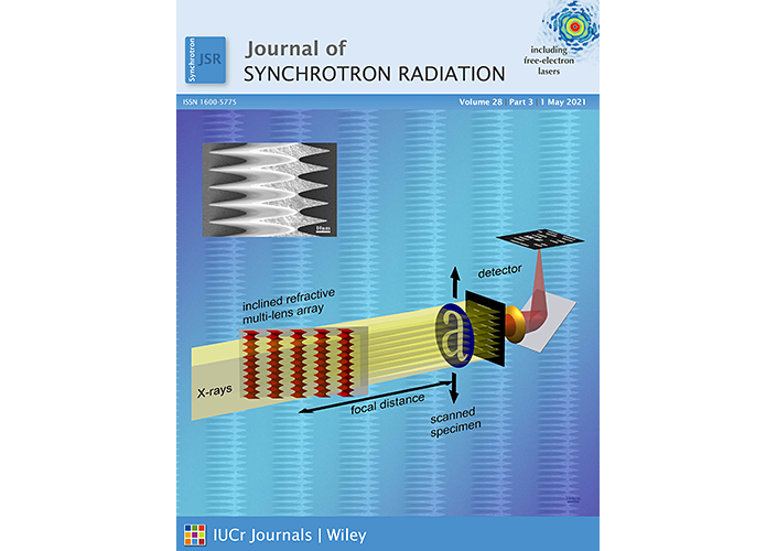 Cover of the May 2021 Issue of the Journal of Synchrotron Radiation. On the Cover: Concept of large field of view pixel super-resolution scanning transmission hard X-ray microscopy based on an array of inclined biconcave parabolic refractive multi-lenses.