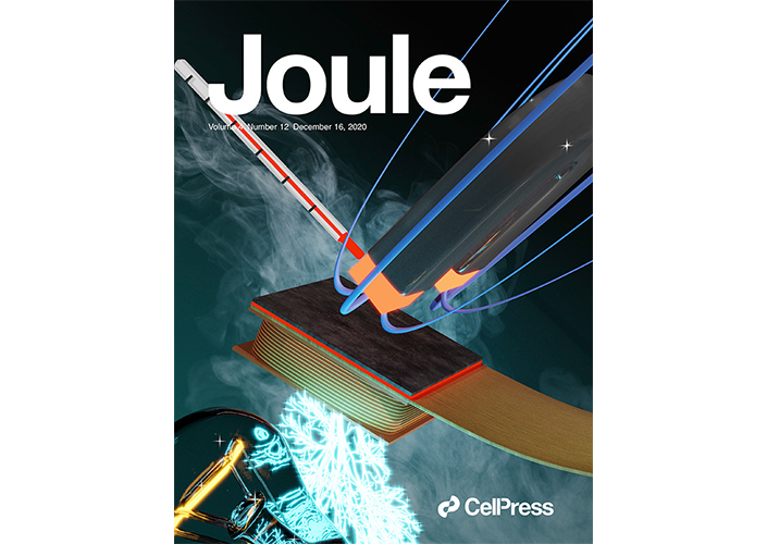 Cover of the December 2020 Issue of the Energy Journal 'Joule'. On the Cover: The image shows artistically the concept of thermomagnetic power generation.